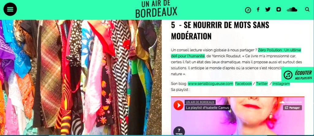 La play list d'Isabelle Camus pour Un Air de Bordeaux